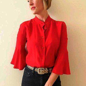 Prada Red Bell Sleeve Silk Blouse
